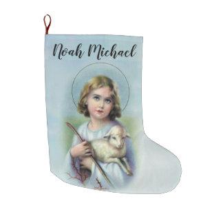 Meia De Natal Grande Criança personalizada Jesus com cordeiro