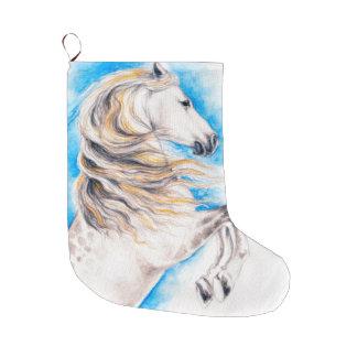 Meia De Natal Grande Elevando o cavalo branco