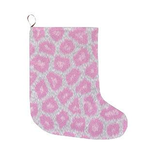 Meia De Natal Grande Estilo do leopardo de neve - rosa de prata