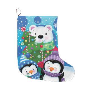 Meia De Natal Grande Estoque do urso polar e dos pinguins