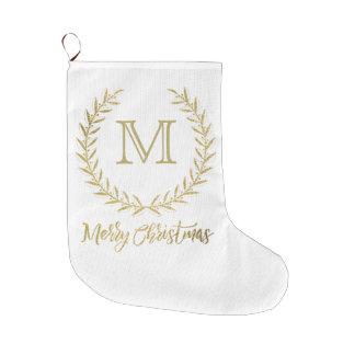 Meia De Natal Grande Feliz Natal do monograma da folha do branco & de