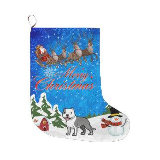 Meia De Natal Grande Feliz Natal Staffordshire Terrier americano
