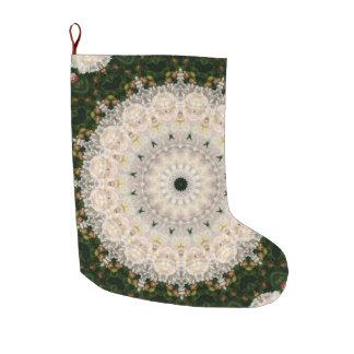 Meia De Natal Grande Feriado floral da mandala da peônia verde e