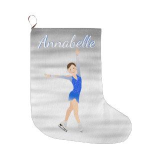 Meia De Natal Grande Figura patinador triguenha no azul