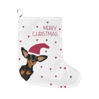 Meia De Natal Grande Filhote de cachorro Supercute do dachshund com