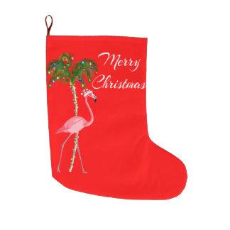 Meia De Natal Grande Flamingo do Feliz Natal