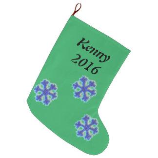 Meia De Natal Grande Floco de neve azul personalizado