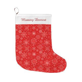 Meia De Natal Grande Flocos de neve brancos no vermelho do Natal