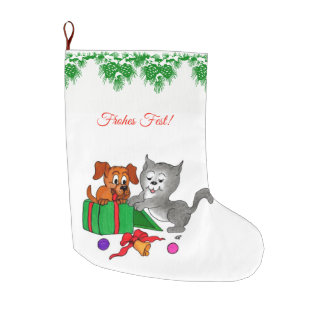 Meia De Natal Grande Fröhliche Weihnachten, auf Deutsch de Katze do und
