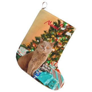 Meia De Natal Grande Gato com a árvore e as caixas de presente