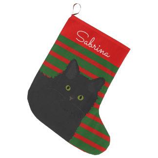 Meia De Natal Grande Gato preto personalizado