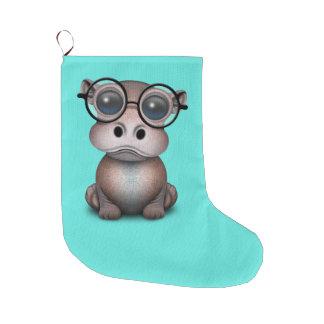 Meia De Natal Grande Hipopótamo Nerdy bonito do bebê que veste vidros