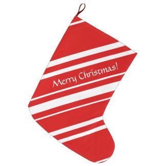 Meia De Natal Grande HO HO HO estoque branco vermelho das listras do