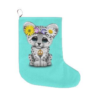 Meia De Natal Grande Leopardo de neve bonito Cub do Hippie