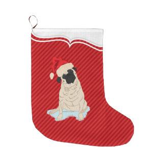 Meia De Natal Grande Listra bonito do vermelho do cão de Papai Noel do
