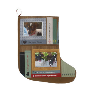 Meia De Natal Grande Livros do amante do cão em uma prateleira