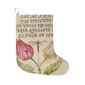 Meia De Natal Grande Manuscrito antigo da libélula das tulipas