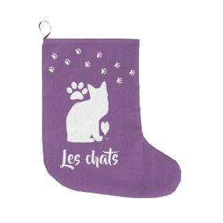 Meia De Natal Grande meia conhecida feita sob encomenda do gato da cor