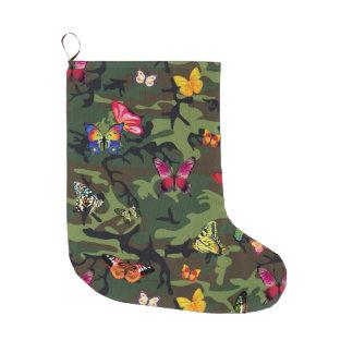 Meia De Natal Grande meia do Natal do xmas da camuflagem da borboleta