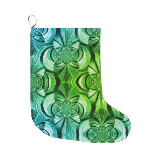 Meia De Natal Grande Meia verde e do azul do abstrato do redemoinho do