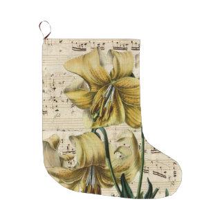 Meia De Natal Grande Música amarela dos lírios gasto