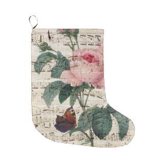 Meia De Natal Grande Música da borboleta do rosa do rosa