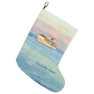 Meia De Natal Grande Nascer do sol Pastel com o navio de cruzeiros