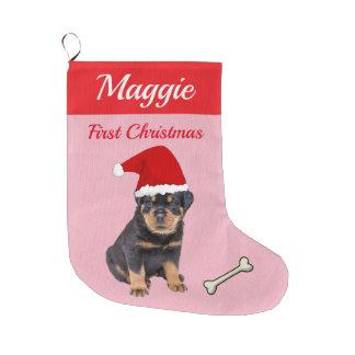 Meia De Natal Grande Natal do filhote de cachorro de Rottweiler