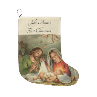 Meia De Natal Grande Natividade santamente Jesus Mary Joseph da família