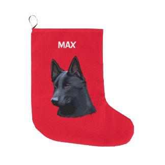 Meia De Natal Grande Nome preto do cão de german shepherd customizável