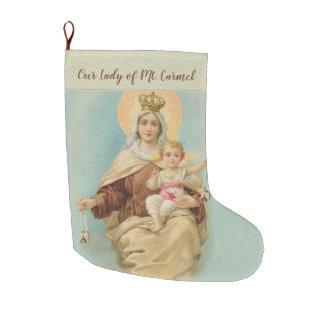 Meia De Natal Grande Nossa senhora de Monte Carmelo com o bebê Jesus
