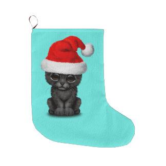 Meia De Natal Grande Pantera preta bonito Cub que veste um chapéu do