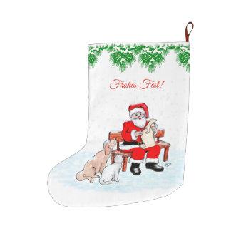 Meia De Natal Grande Papai noel com cão e gato em alemão