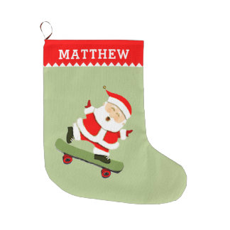Meia De Natal Grande papai noel skateboarding