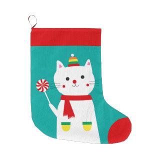 Meia De Natal Grande Pirulito alegre gato personalizado do gatinho