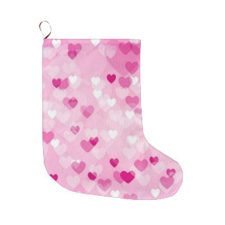 Meia De Natal Grande Por todo o lado nos corações, cor-de-rosa