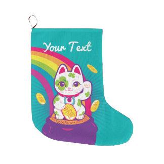 Meia De Natal Grande Pote de boa sorte de Maneki Neko do gato de ouro