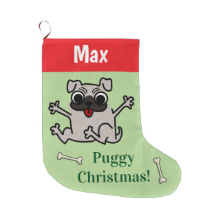 Meia De Natal Grande Pug customizável