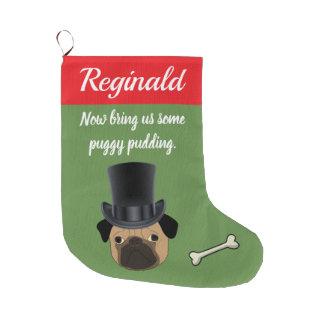 Meia De Natal Grande Pug customizável do Victorian