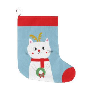 Meia De Natal Grande Rudolf o gato vermelho personalizado do nariz