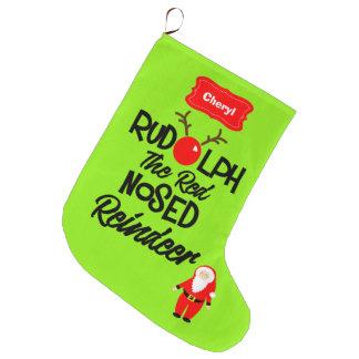 Meia De Natal Grande Rudolph a rena cheirada vermelha personalizada
