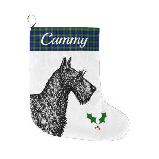 Meia De Natal Grande Scottish Terrier com o Tartan de Campbell do clã
