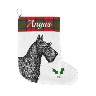 Meia De Natal Grande Scottish Terrier com o Tartan de Grant do clã