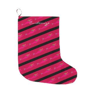 Meia De Natal Grande sereias cor-de-rosa no preto listrado/vermelho
