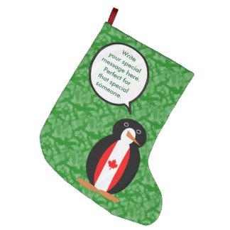 Meia De Natal Grande Sr. canadense Pinguim do feriado