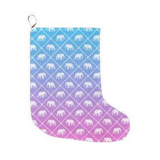 Meia De Natal Grande Teste padrão do elefante no azul para picar o