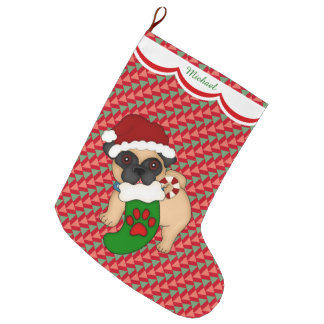 Meia De Natal Grande Teste padrão do filhote de cachorro do Pug