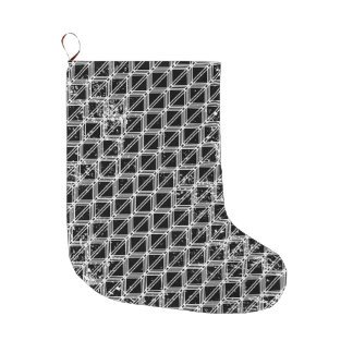 Meia De Natal Grande Teste padrão geométrico preto e branco