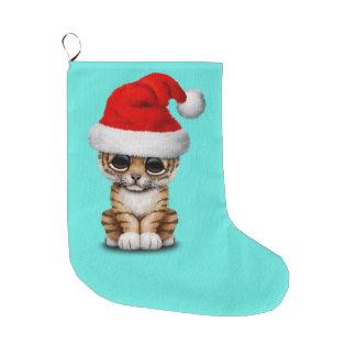 Meia De Natal Grande Tigre Cub bonito que veste um chapéu do papai noel