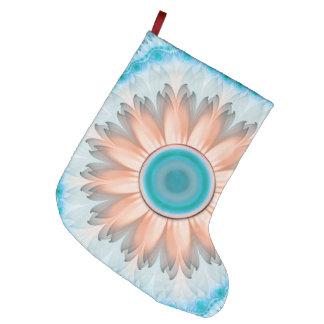 Meia De Natal Grande Turquesa limpa e pura e flor branca do Fractal
